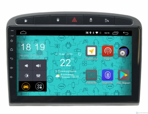 Штатная магнитола Parafar 4G LTE с IPS матрицей для Peugeot 308 и 408 2010-2017 черная на Android 7.1.1 (PF081-B)