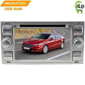 Штатная андроид магнитола Ford Focus 2, Fusion, Kuga, C-MAX цвет серебро LeTrun 1508 KD Android 6.x MTK 4G