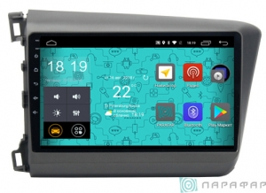 Штатная магнитола Parafar 4G/LTE с IPS матрицей для Honda Civic 2012-2016 на Android 7.1.1 (PF132)